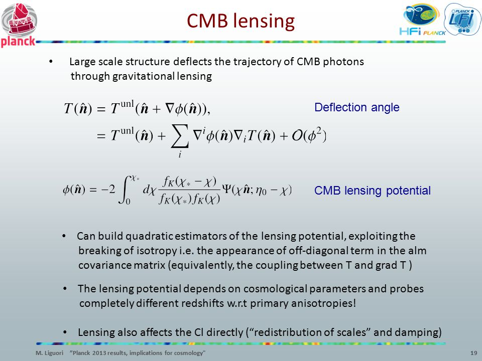 CMB lensing 19 Large scale structure deflects the trajectory of CMB photons through gravitational lensing CMB lensing potential Deflection angle Can b