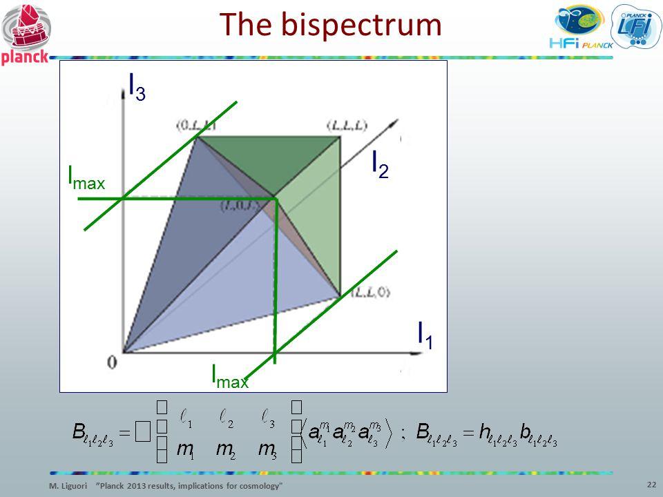 """The bispectrum l3l3 l2l2 l1l1 l max 22 M. Liguori """"Planck 2013 results, implications for cosmology"""