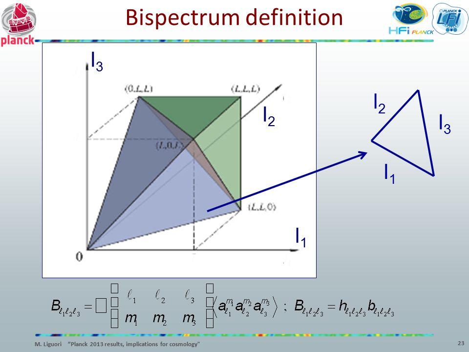 "l3l3 l2l2 l1l1 l1l1 l2l2 l3l3 Bispectrum definition 23 M. Liguori ""Planck 2013 results, implications for cosmology"