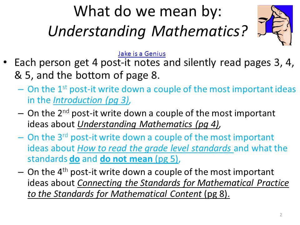 What do we mean by: Understanding Mathematics.