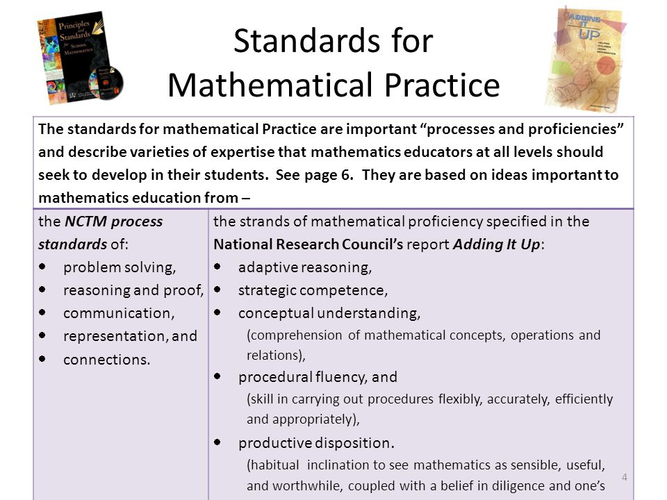 "Standards for Mathematical Practice The standards for mathematical Practice are important ""processes and proficiencies"" and describe varieties of expe"