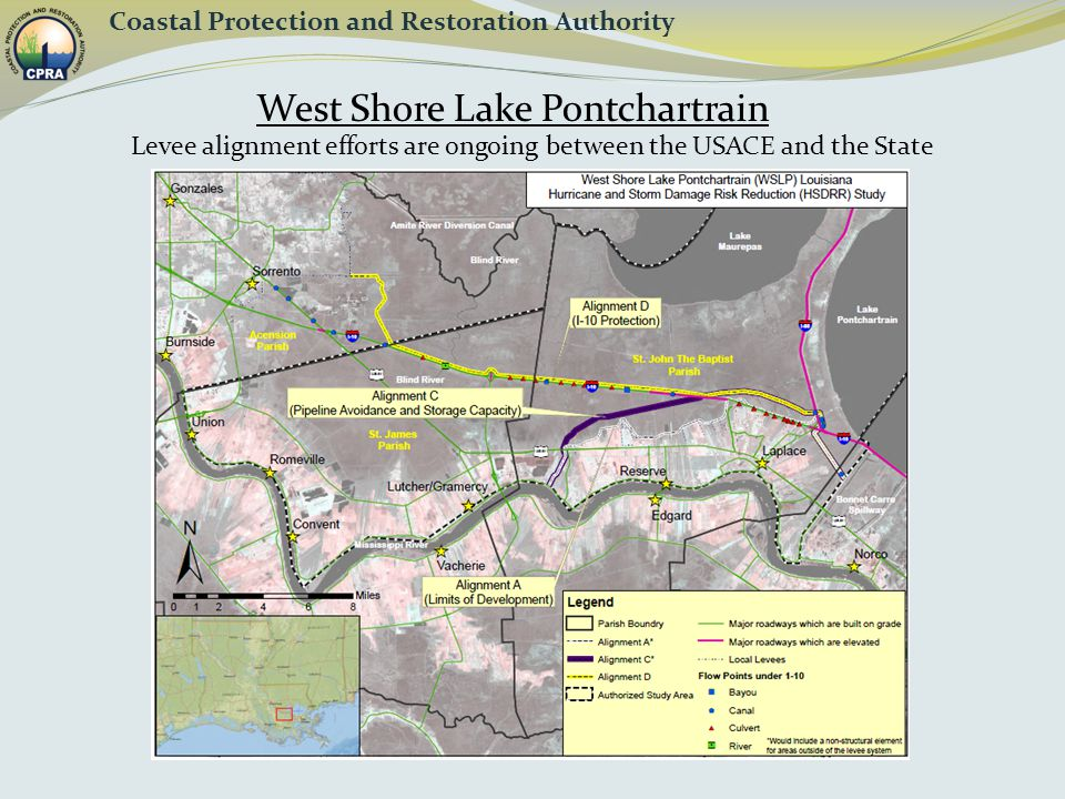 West Shore Lake Pontchartrain Coastal Protection and Restoration Authority Levee alignment efforts are ongoing between the USACE and the State