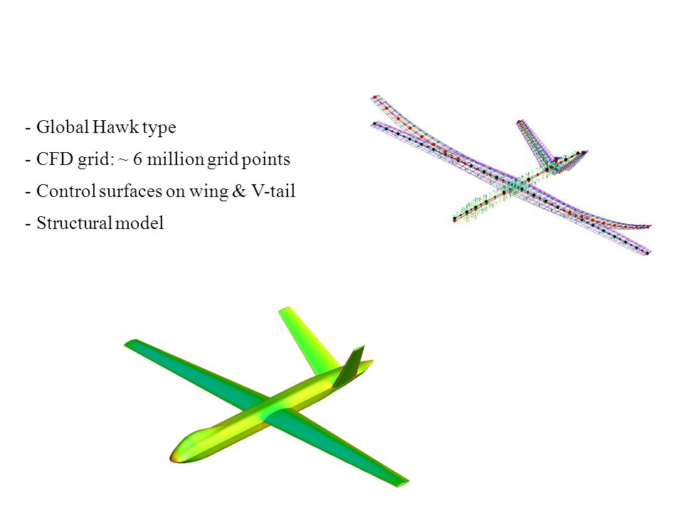 - Global Hawk type - CFD grid: ~ 6 million grid points - Control surfaces on wing & V-tail - Structural model