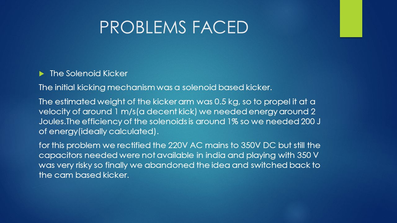 PROBLEMS FACED  The Solenoid Kicker The initial kicking mechanism was a solenoid based kicker.