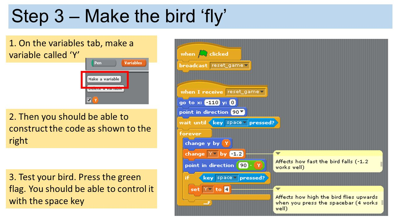 Explain how the bird code works A B C D How is the code working.