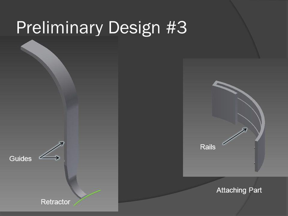 Preliminary Design #3 Retractor Attaching Part Guides Rails