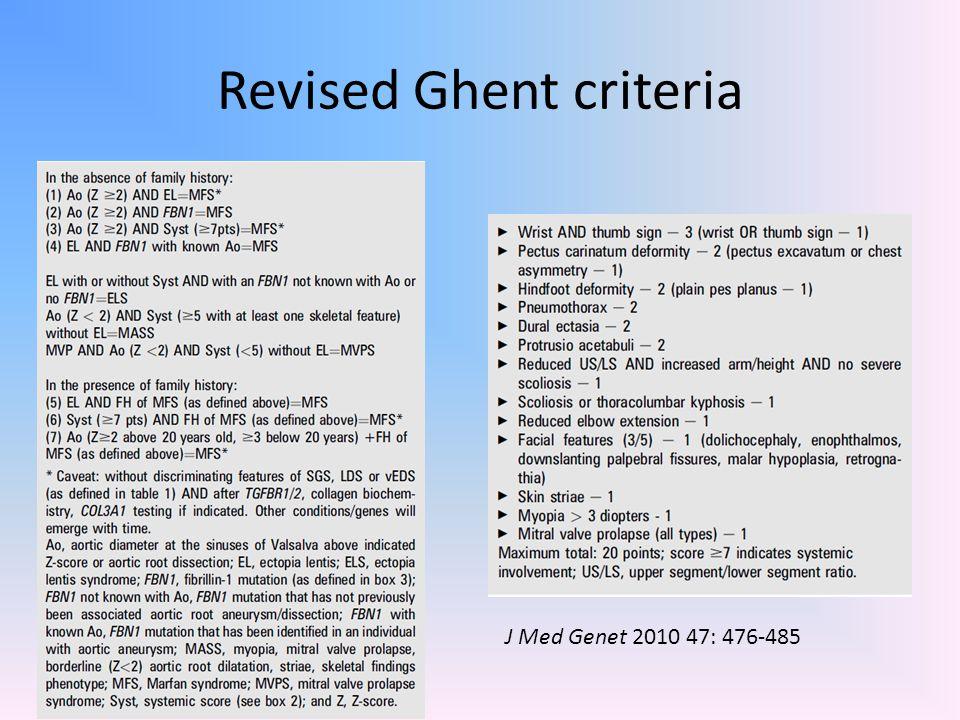 Revised Ghent criteria J Med Genet 2010 47: 476-485