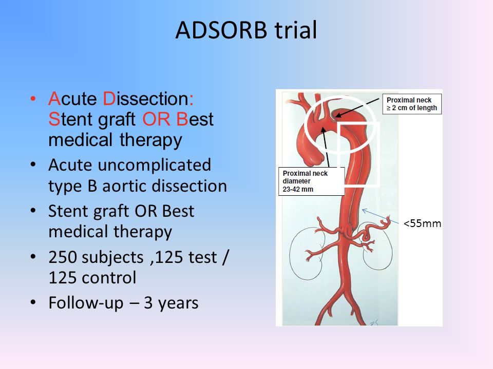 ADSORB trial Acute Dissection: Stent graft OR Best medical therapy Acute uncomplicated type B aortic dissection Stent graft OR Best medical therapy 25