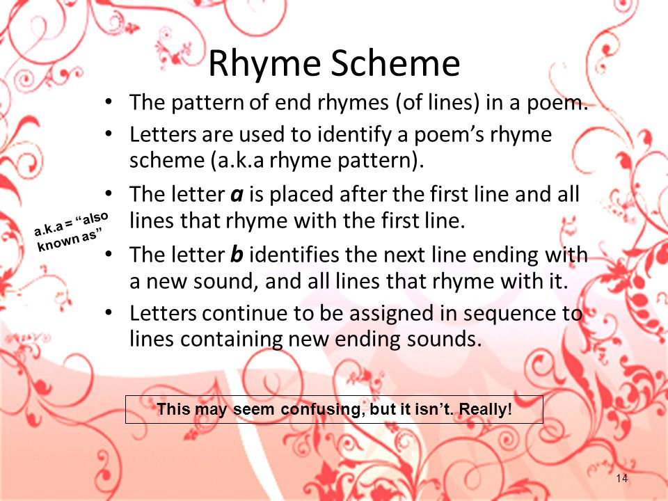 14 Rhyme Scheme The pattern of end rhymes (of lines) in a poem. Letters are used to identify a poem's rhyme scheme (a.k.a rhyme pattern). The letter a