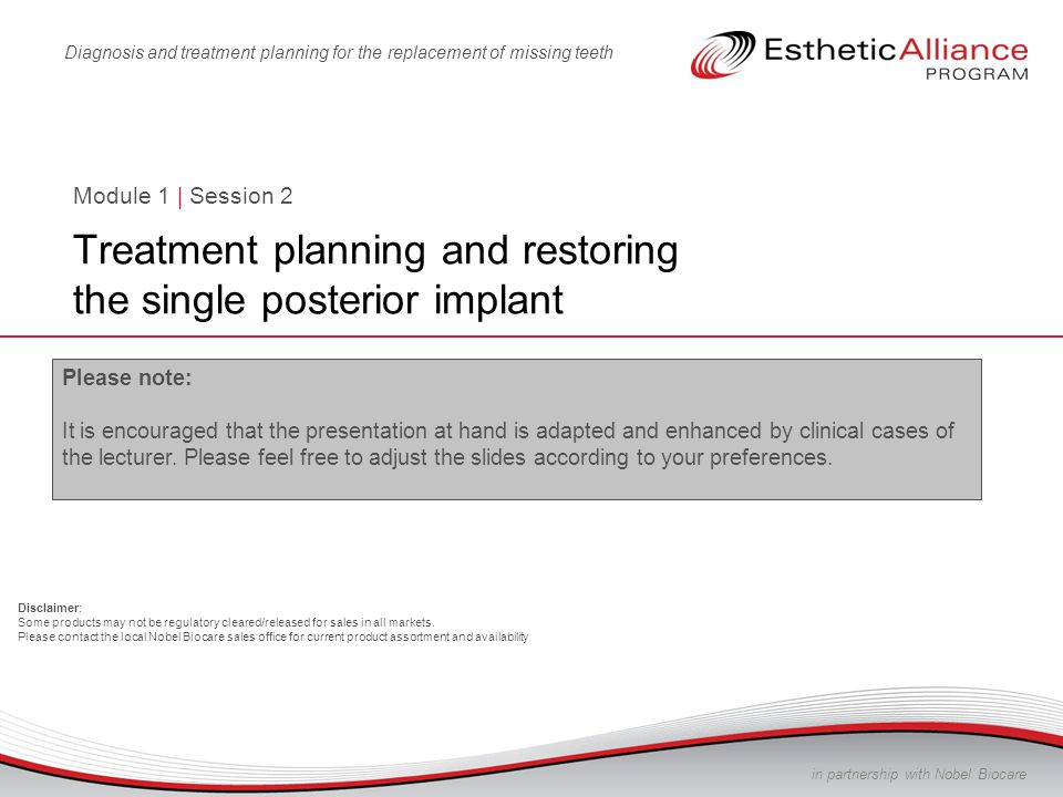 Treatment planning and restoring the single posterior dental implant 2 Gain proficiency in diagnosis and treatment planning Master the restorative steps for a posterior dental implant Transform restorative decision-making and execution into a simple and easy process Learn how to avoid or manage complications Learn how to gain patient acceptance for dental implant treatment Module 1: Course objectives Treatment planning and restoring the single posterior dental implant