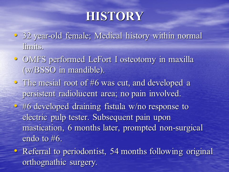 HISTORY 32 year-old female; Medical history within normal limits.