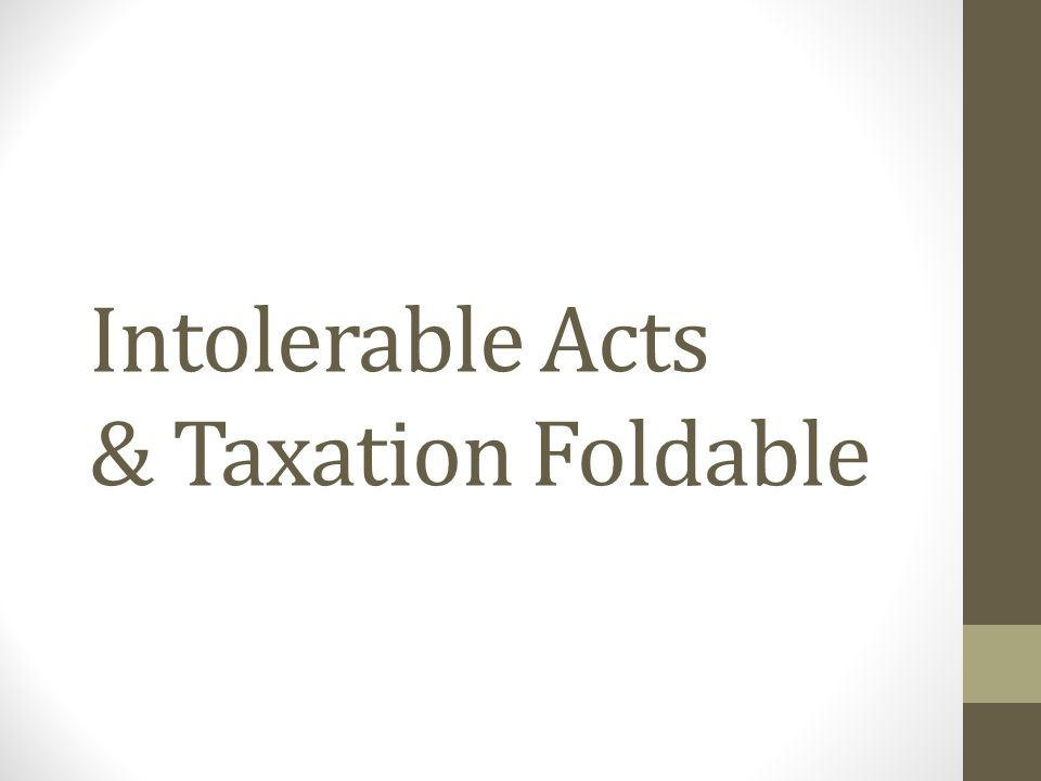 Intolerable Acts Opening Intolerable – Impossible to endure; unbearable.