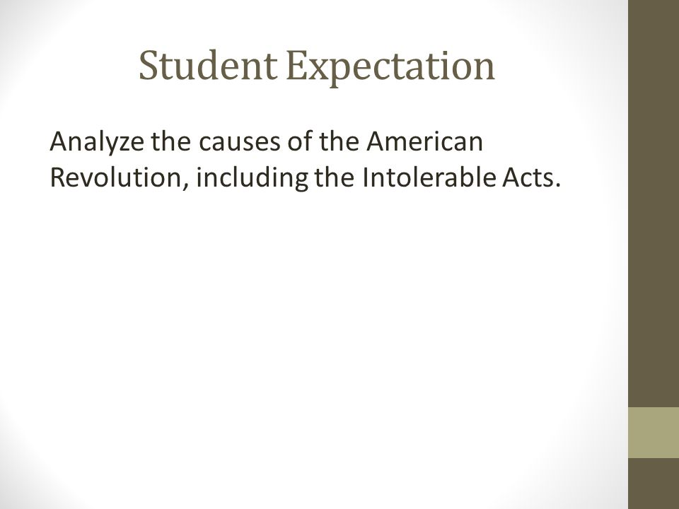 Intolerable Acts Read each of the new laws passed by the Intolerable Acts and match a picture with that law.