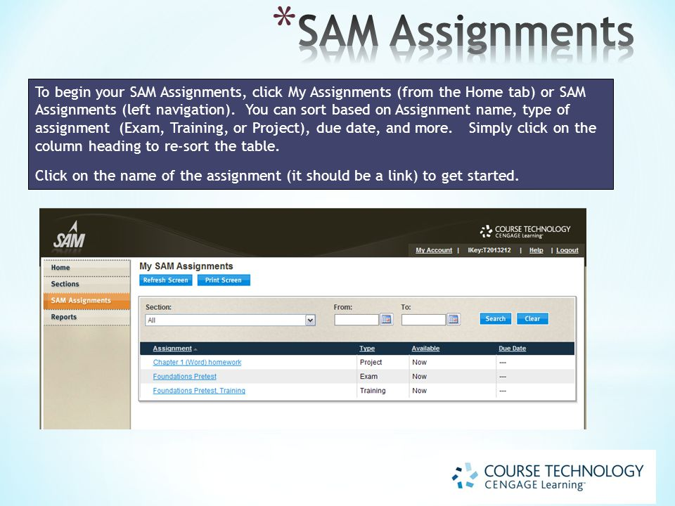 To begin your SAM Assignments, click My Assignments (from the Home tab) or SAM Assignments (left navigation).