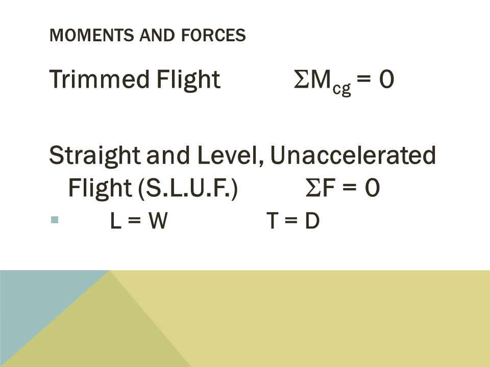 MOMENTS AND FORCES Trimmed Flight  M cg = 0 Straight and Level, Unaccelerated Flight (S.L.U.F.)  F = 0  L = W T = D
