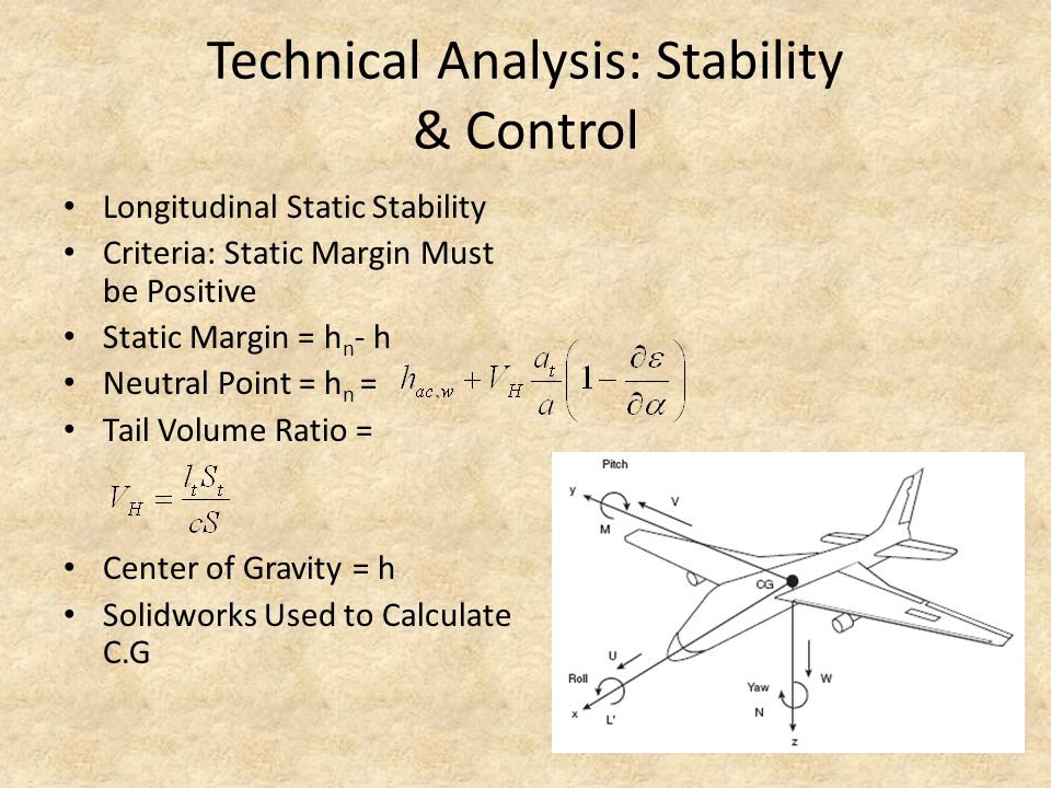 Technical Analysis: Stability & Control Longitudinal Static Stability Criteria: Static Margin Must be Positive Static Margin = h n - h Neutral Point =