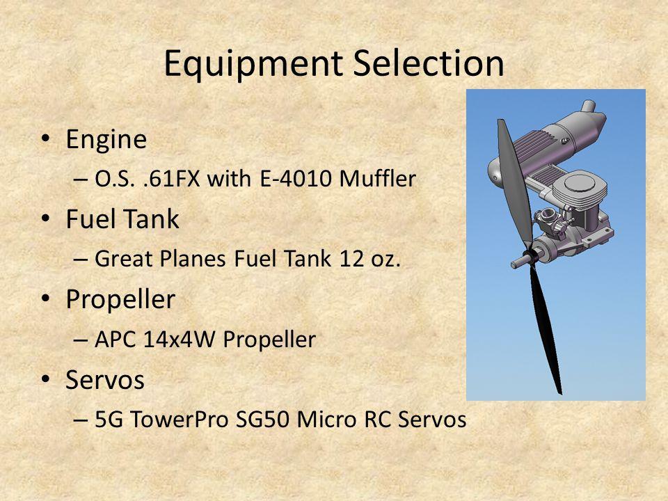 Equipment Selection Engine – O.S..61FX with E-4010 Muffler Fuel Tank – Great Planes Fuel Tank 12 oz. Propeller – APC 14x4W Propeller Servos – 5G Tower