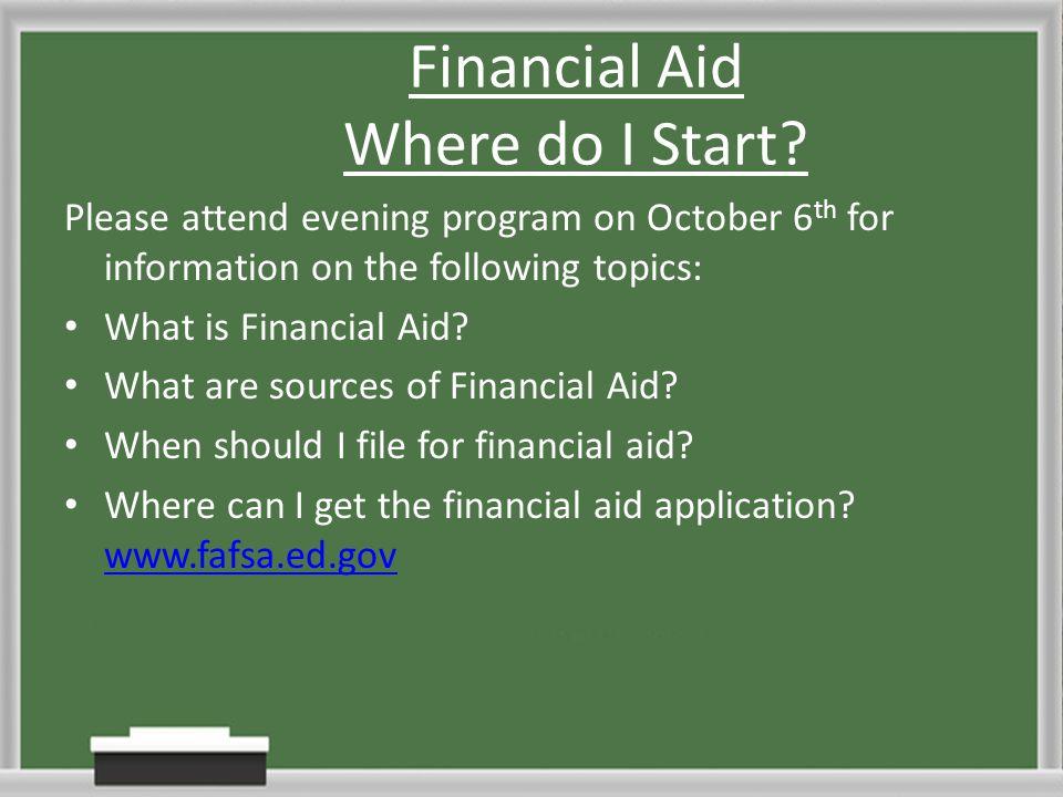 Financial Aid Where do I Start.