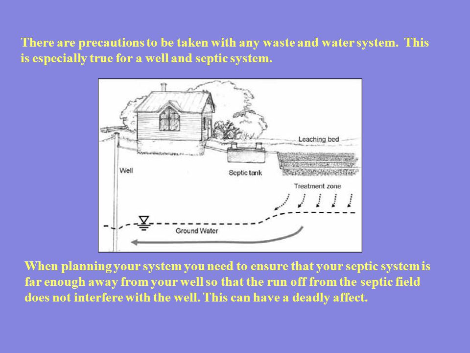 There are precautions to be taken with any waste and water system. This is especially true for a well and septic system. When planning your system you