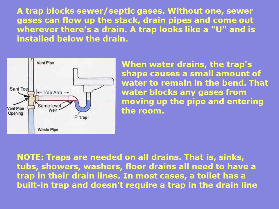 A trap blocks sewer/septic gases. Without one, sewer gases can flow up the stack, drain pipes and come out wherever there's a drain. A trap looks like