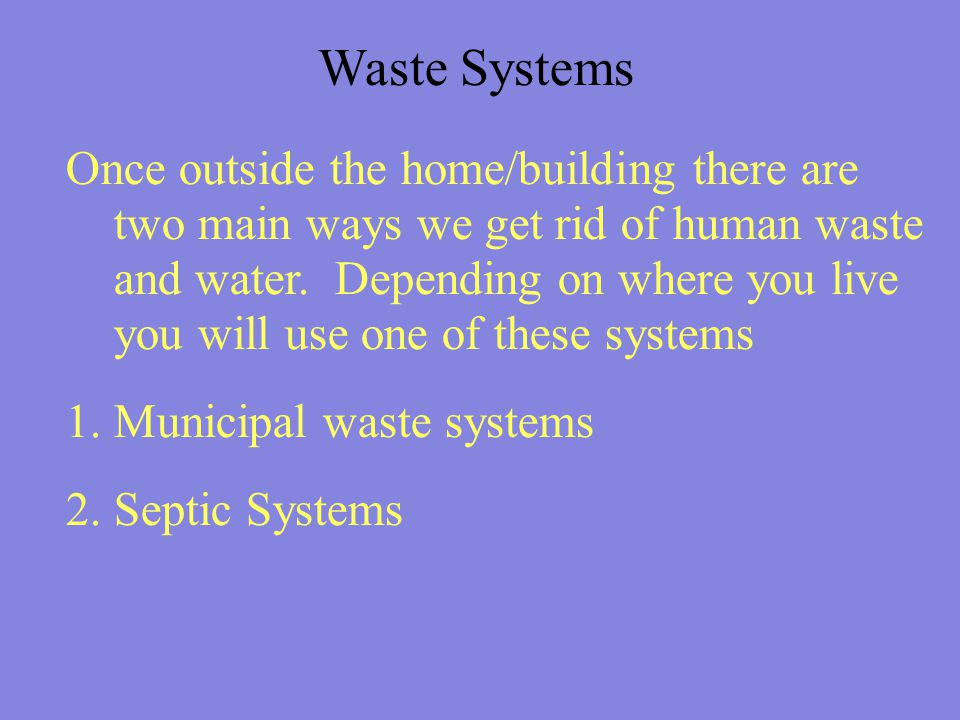 Municipal Waste systems The overall state of Canada's water quality is relatively high, but is increasingly being threatened by contaminants from waste systems near populated areas and industrial development.