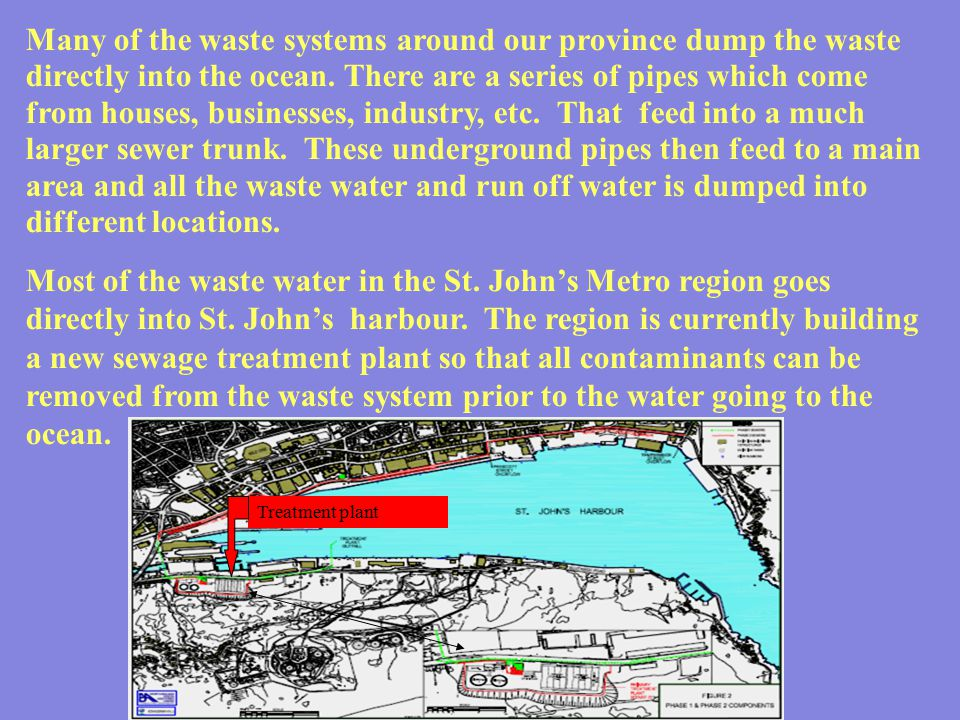 Many of the waste systems around our province dump the waste directly into the ocean. There are a series of pipes which come from houses, businesses,