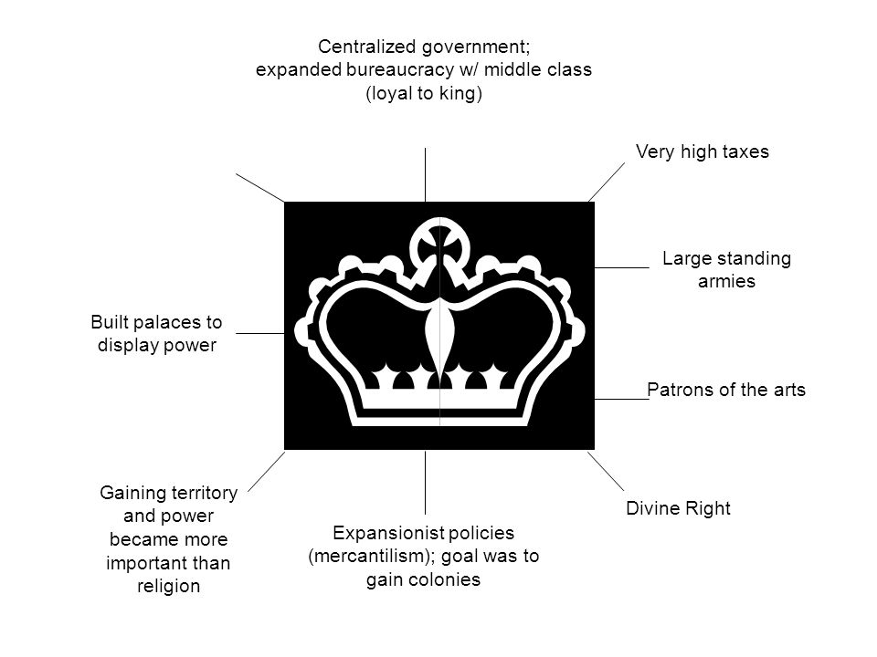Centralized government; expanded bureaucracy w/ middle class (loyal to king) Built palaces to display power Gaining territory and power became more im