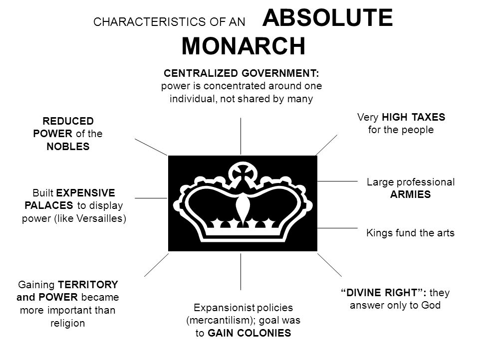 CENTRALIZED GOVERNMENT: power is concentrated around one individual, not shared by many REDUCED POWER of the NOBLES Built EXPENSIVE PALACES to display