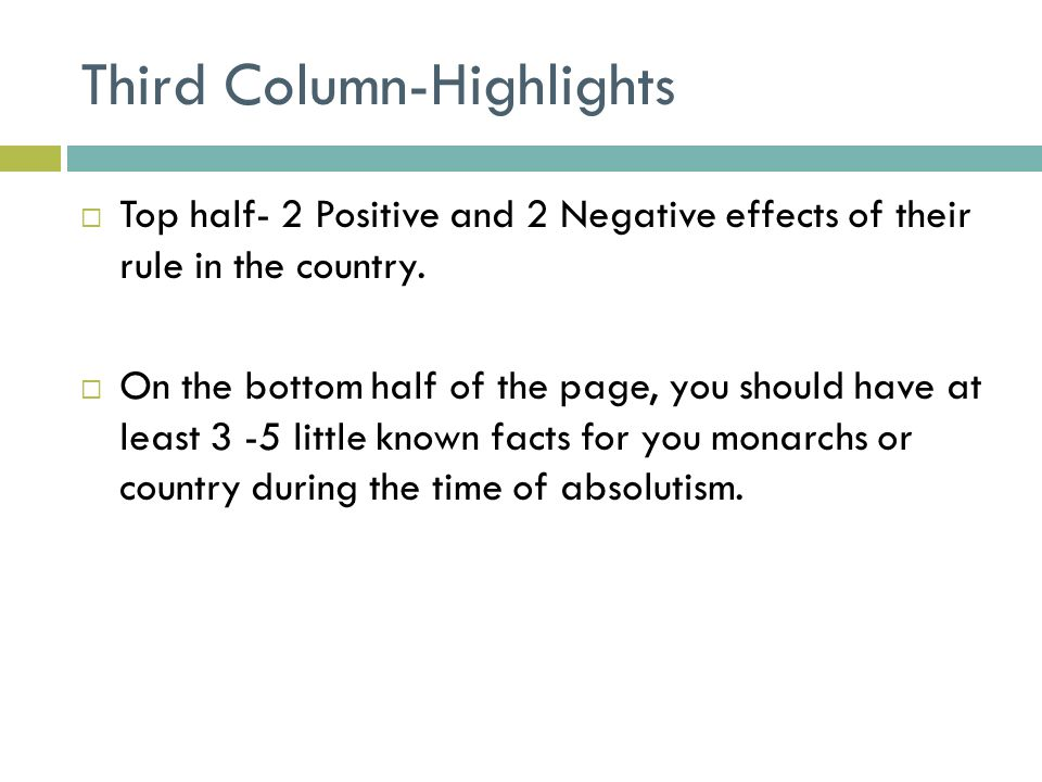 Third Column-Highlights  Top half- 2 Positive and 2 Negative effects of their rule in the country.  On the bottom half of the page, you should have