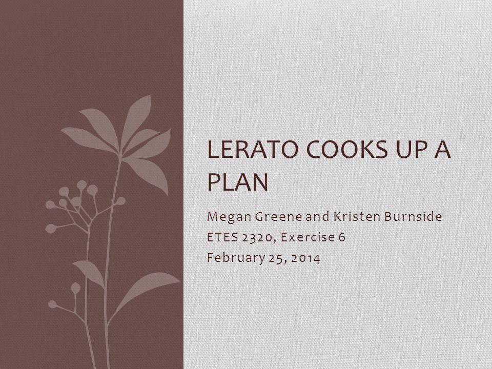 Megan Greene and Kristen Burnside ETES 2320, Exercise 6 February 25, 2014 LERATO COOKS UP A PLAN
