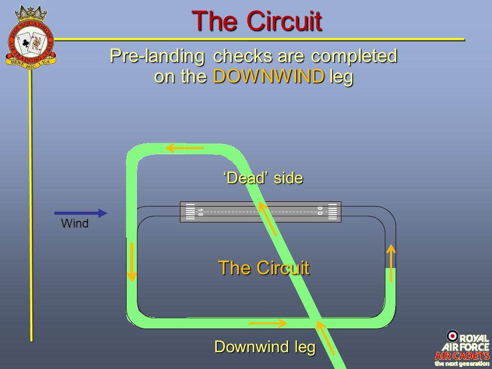 The Circuit 1 8 0 Wind Downwind leg Pre-landing checks are completed on the DOWNWIND leg The Circuit 'Dead' side