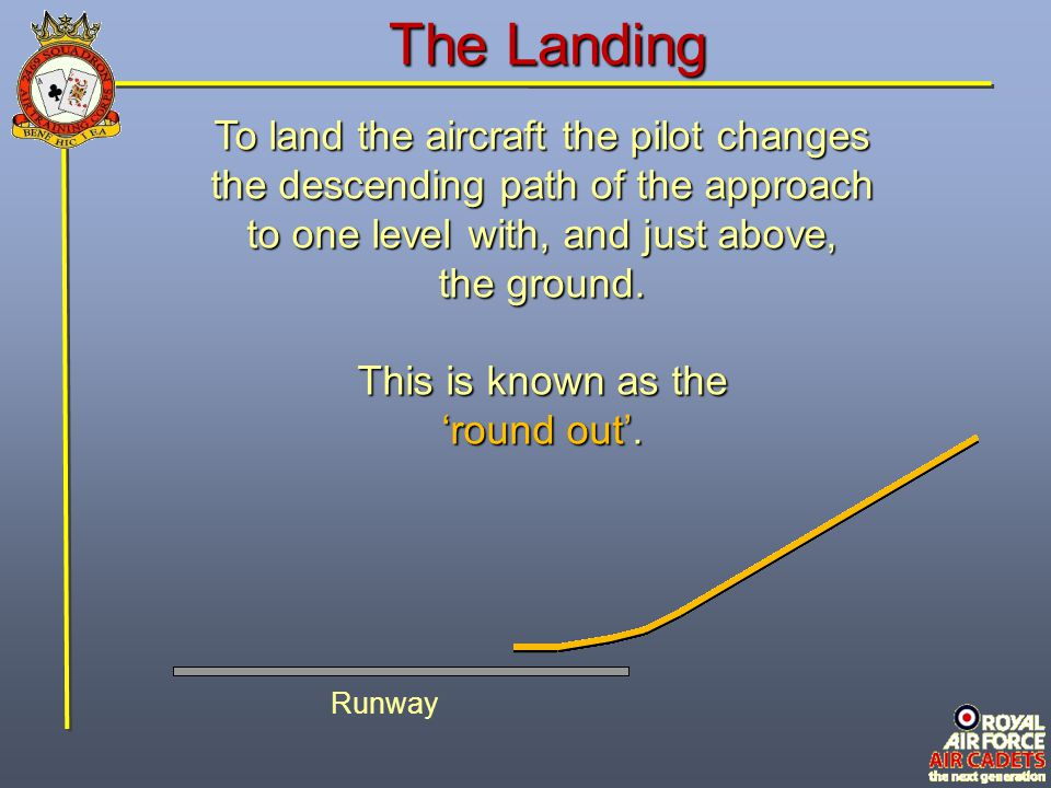 The Landing To land the aircraft the pilot changes the descending path of the approach to one level with, and just above, the ground.