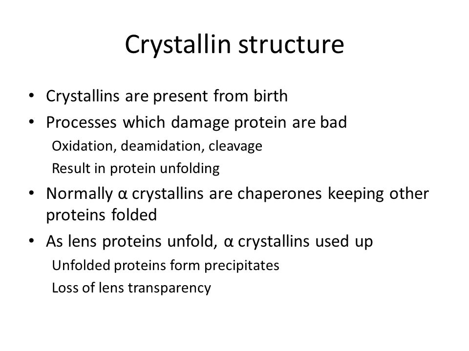 Crystallin structure Crystallins are present from birth Processes which damage protein are bad Oxidation, deamidation, cleavage Result in protein unfo