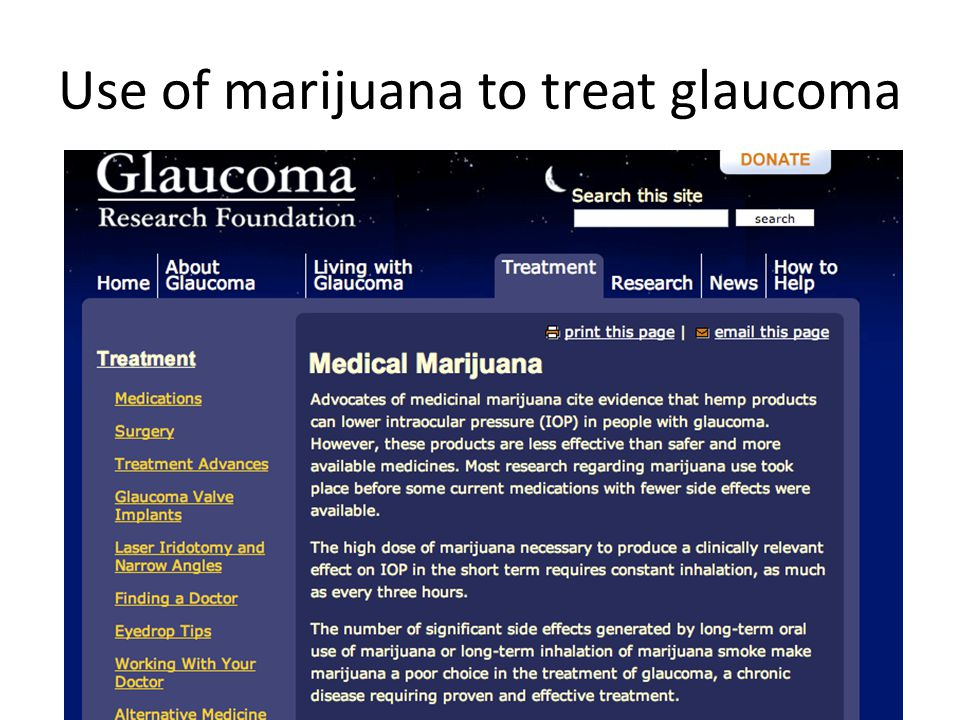 Use of marijuana to treat glaucoma