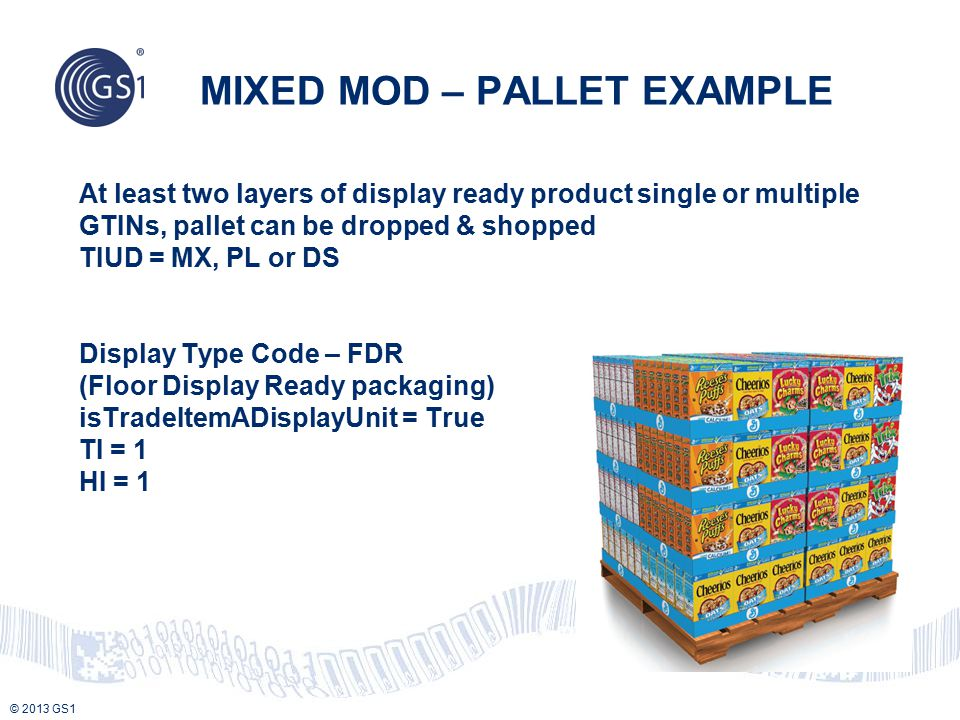 © 2013 GS1 At least two layers of display ready product single or multiple GTINs, pallet can be dropped & shopped TIUD = MX, PL or DS Display Type Cod