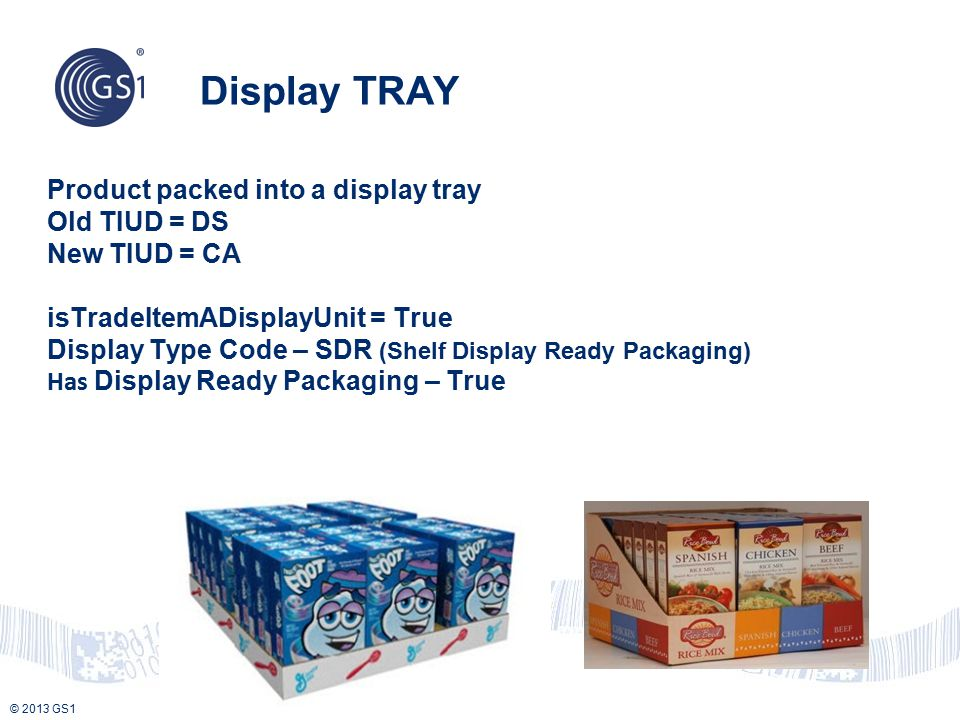 © 2013 GS1 Product packed into a display tray Old TIUD = DS New TIUD = CA isTradeItemADisplayUnit = True Display Type Code – SDR (Shelf Display Ready