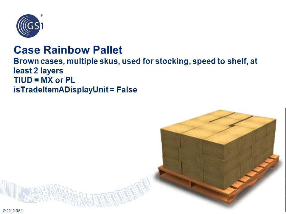 © 2013 GS1 Case Rainbow Pallet Brown cases, multiple skus, used for stocking, speed to shelf, at least 2 layers TIUD = MX or PL isTradeItemADisplayUni