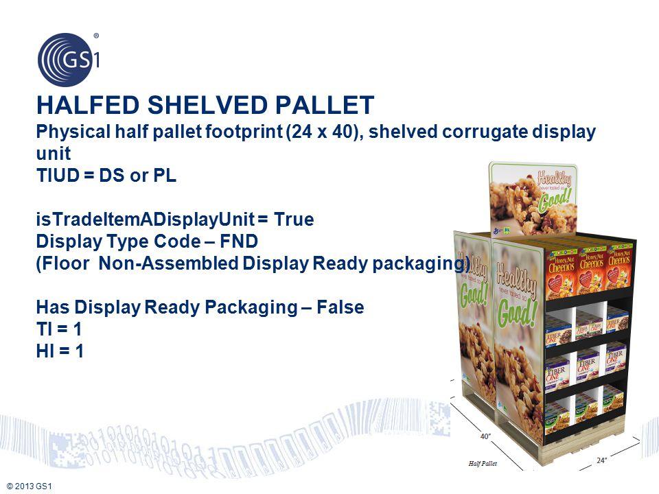 © 2013 GS1 HALFED SHELVED PALLET Physical half pallet footprint (24 x 40), shelved corrugate display unit TIUD = DS or PL isTradeItemADisplayUnit = Tr