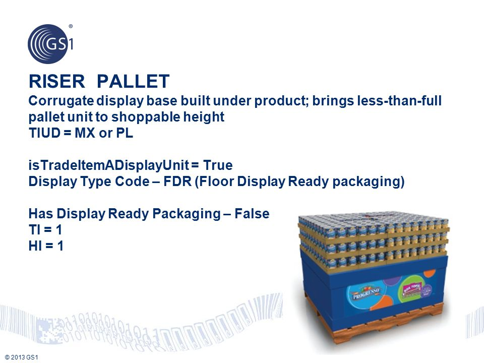 © 2013 GS1 RISER PALLET Corrugate display base built under product; brings less-than-full pallet unit to shoppable height TIUD = MX or PL isTradeItemA