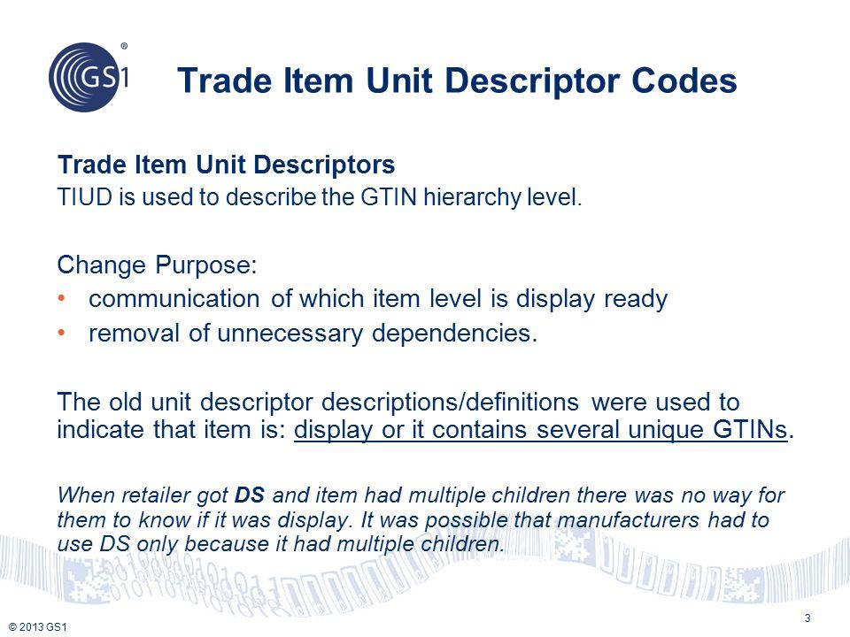 © 2013 GS1 Trade Item Unit Descriptor Codes 3 Trade Item Unit Descriptors TIUD is used to describe the GTIN hierarchy level. Change Purpose: communica