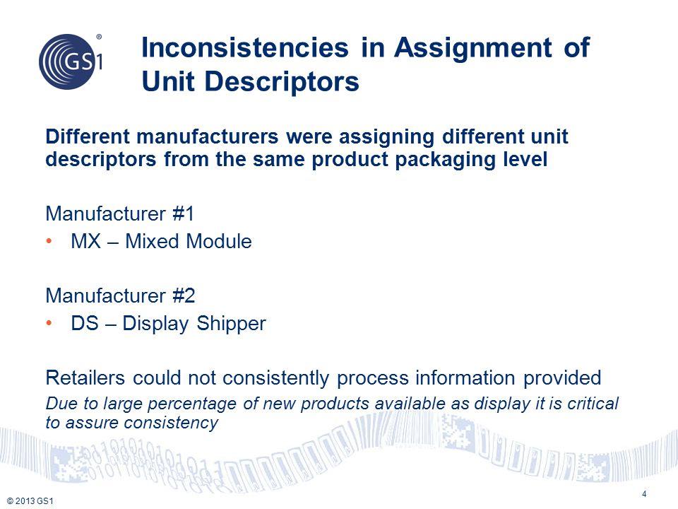 © 2013 GS1 Inconsistencies in Assignment of Unit Descriptors 4 Different manufacturers were assigning different unit descriptors from the same product