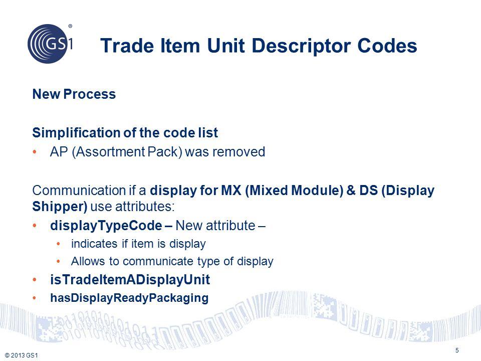 © 2013 GS1 Display Shipper TIUD = MX or DS Display Type Code – FDR (Floor Display Ready packaging) isTradeItemADisplayUnit = True TI = 1 HI = 1
