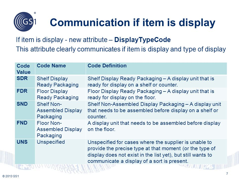 © 2013 GS1 Communication if item is display 7 If item is display - new attribute – DisplayTypeCode This attribute clearly communicates if item is disp