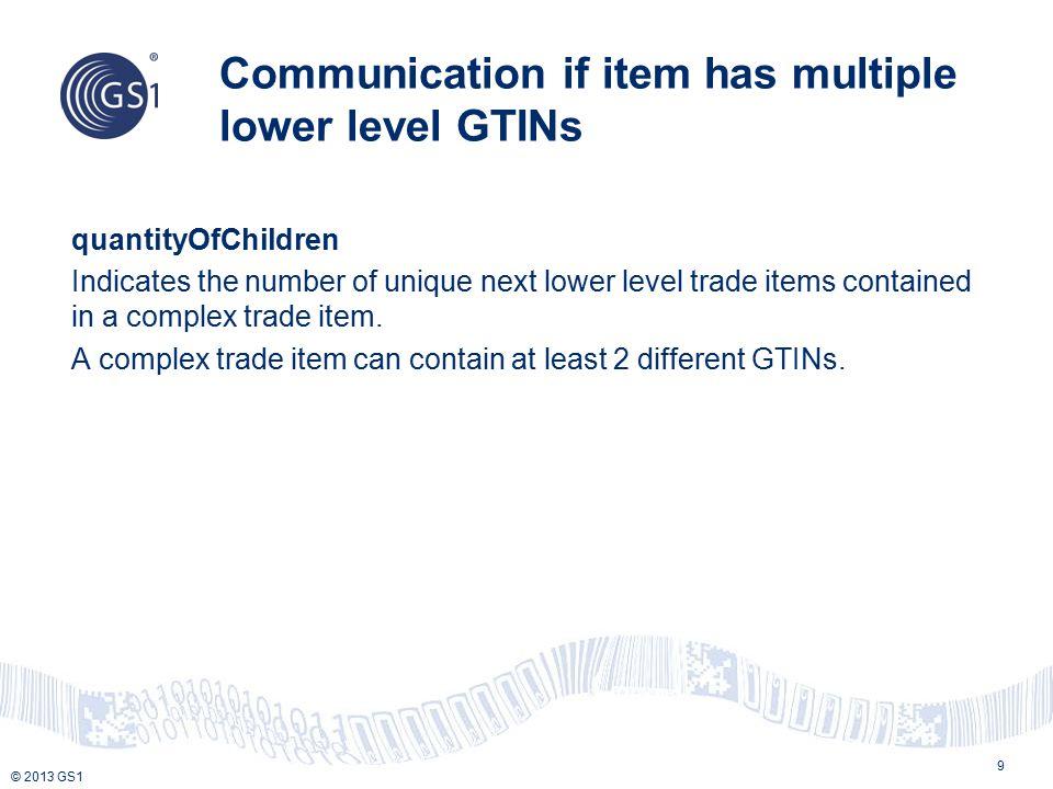 © 2013 GS1 Pallet Contains a child GTIN of Case that contains a child GTIN of Each TIUD = PL isTradeItemADisplayUnit = False