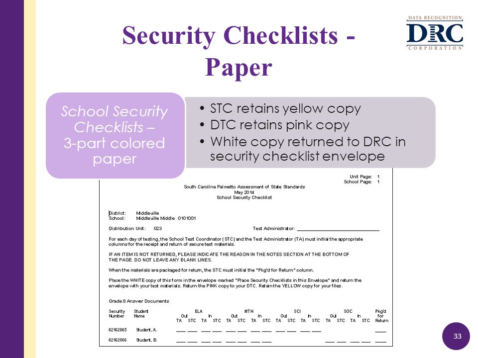Security Checklists - Paper 33 STC retains yellow copy DTC retains pink copy White copy returned to DRC in security checklist envelope School Security Checklists – 3-part colored paper