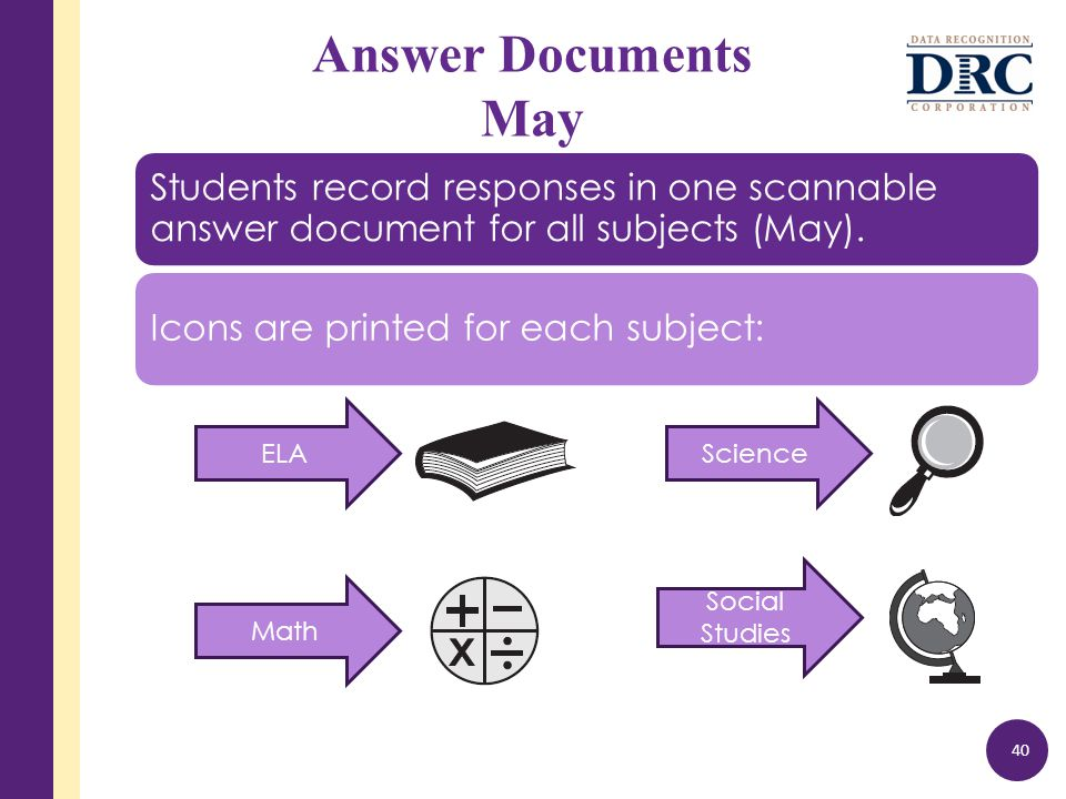 Answer Documents May 40 Students record responses in one scannable answer document for all subjects (May).