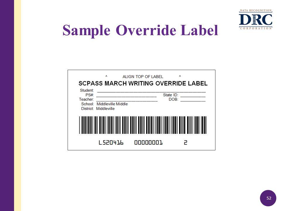Sample Override Label 52