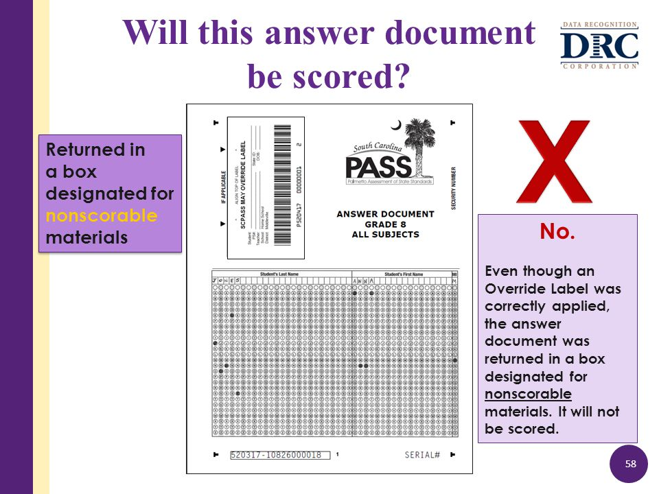 Will this answer document be scored. 58 No.