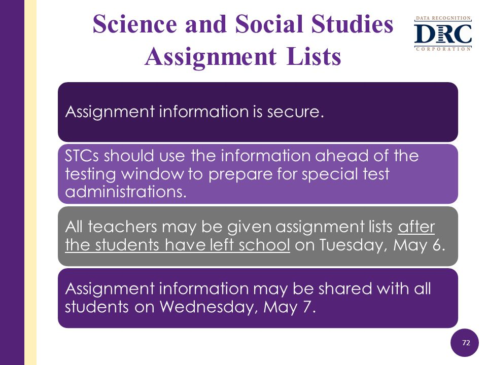 Science and Social Studies Assignment Lists Assignment information is secure.