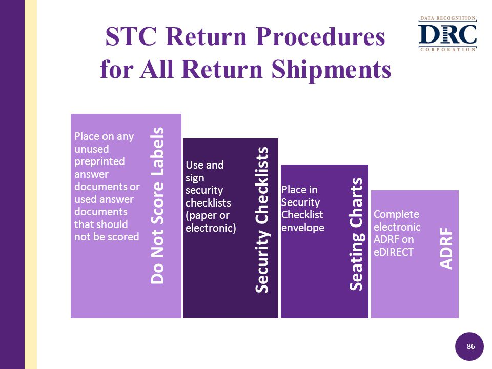 STC Return Procedures for All Return Shipments 86 Do Not Score Labels Place on any unused preprinted answer documents or used answer documents that should not be scored Security Checklists Use and sign security checklists (paper or electronic) Seating Charts Place in Security Checklist envelope ADRF Complete electronic ADRF on eDIRECT